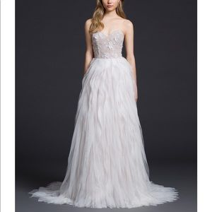 LAZARO ivory silk organza wedding dress 3654